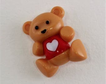 Vintage Signed Avon Hugs and Hearts Hard Plastic Teddy Bear Red Shirt White Heart Animal Pin Brooch