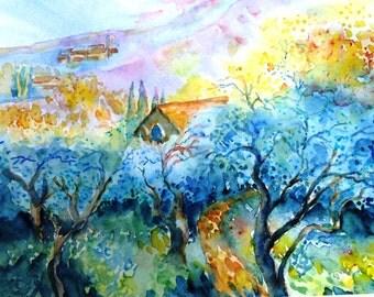 "Watercolour ""Path Through  the Olive Grove "" Original painting, SALE tuscany art, Impressionist colours, Italian Sunrise"