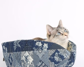 SALE The Cat Canoe a Modern Pet Bed in Navy Blue Calico Patches with Butterfly Lining
