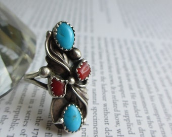 Vintage Native American Turquoise Coral Sterling Silver Ring  10.5