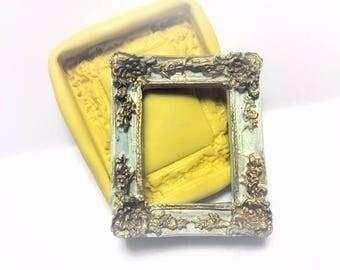 Victorian Floral frame flexible silicone mold