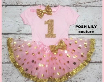 "first Birthday girl Outfit,Pink gold ""1 ""baby tutu set,   Birthday baby Outfit,  Sparkly Glitter birthday baby top"