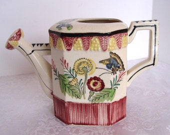 Vintage Ceramic Painted Watering Can Water Can ~ Made in Japan