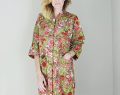 Valentines SALE-14% off - Vintage 60s Paradise Hawaii Kimono House Dress Asian Inspired Floral Long Dress -- large