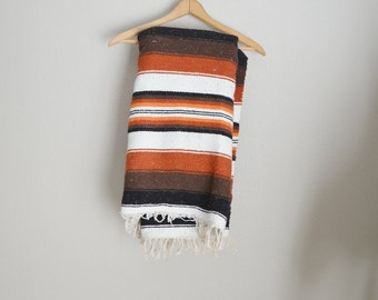 vintage mexican eagle and snake blanket throw with fringe -- 62x45