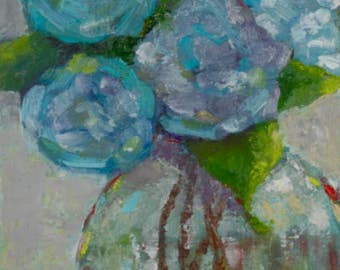 Original Oil - flower painting - blue hydrangea - still life - flowers in vase - textured painting - home decor fine art wall art canvas
