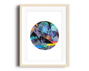 Cassiopeia Space Mountains Art Print, A4 Digital Mixed Media Print,  Nursery Print, Space Decor, Sci Art, Constellations Print