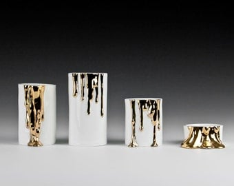 Candle Holder Set, Modern Ceramic Candle Holders, White and Gold Decorative Candle Holders, Home Decor