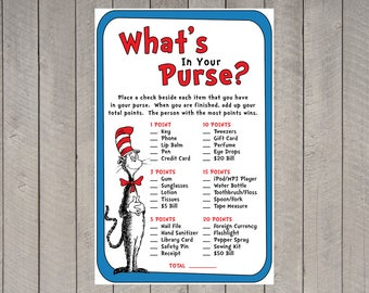 Dr. Seuss Game - What's in your Purse - Baby Shower