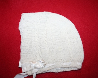 Vintage Hand Knitted Baby Bonnet