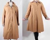 RESERVED for beautifulescape trench coat/ brown beige swing coat/ rainjacket/ plaid trim/ mod style jacket/ rain coat/