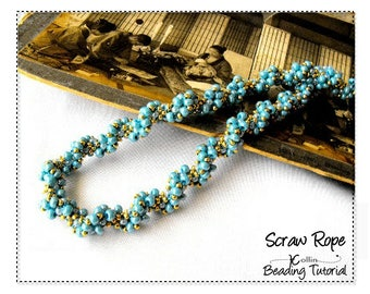 Beading Patterns, Instructions, Tutorials, Spiraling Cubic Right Angle Weave, CRAW, Twisted Rope Instant Download  Patterns SCRAW ROPE