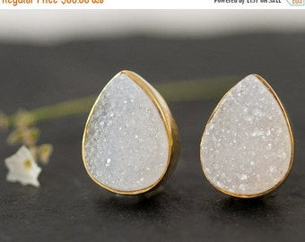 40 OFF - Druzy Stud Earrings - April Birthstone Studs - Gemstone Studs - Tear Drop Studs - Gold Stud Earrings - Post Earrings
