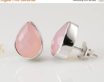 40 OFF - Pink Chalcedony Studs - Post Earrings - Gemstone Studs - October Birthstone Studs - Tear Drop Studs - Silver Studs