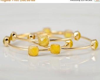 40 OFF - Bangles - Yellow Chalcedony Bangles -  Yellow Bangles - Gemstone Bangles - Stacking Bangles - Gold Bangle