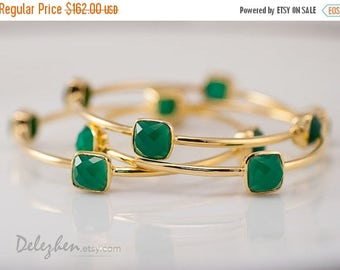 40 OFF - Green Onyx Bangles-  Green Onyx Bracelet - Gemstone Bangles - Stacking Bangles - Gold Bracelets