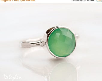 40 OFF - Mint Green Chrysoprase Ring Silver - Solitaire Ring - Stackable Stone Ring - Sterling Silver Ring - Round Ring - Gemstone Ring