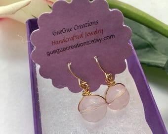 Rose Quartz Earrings, Gold Pink Earrings, Crystal Earrings, Rose Quartz Jewelry, Earrings for Mom, Crystal Jewelry, Pink Drop Earrings