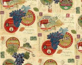 1 yd 24 in piece Wine and Cheese Labels cotton quilting fabric by Windham Fabrics BTY - camembert, wine tasting, grapes - LAST PIECE