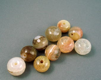 Destash Cream and Shades of Brown Agate 12MM-14MM 9 Pieces