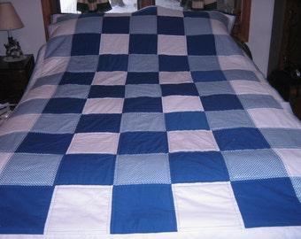 Royal Blue Check Full Patchwork Quilt