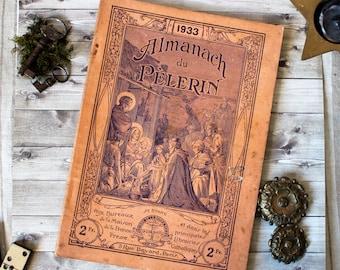 "Antique french religious ""Almanach du pélerin"" catholic book pilgrim's almanach 1933 1930s french country shabby chic illustration"