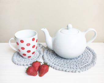 Crochet pattern table coaster, cup, teapot, home decor, table decoration, kitchen,  Instant download PDF