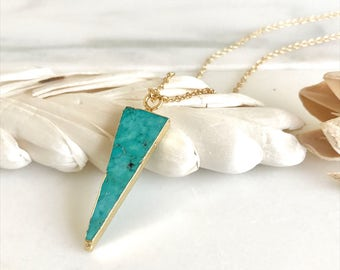 Long Turquoise Triangle Pendant Necklace in Gold. Turquoise Jewelry.  Arrow and Gold Stone Geometric Necklace. Jewerly Gift. Simple Jewelry.