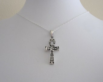 Ra ANKH Egyptian CROSS sterling silver pendant with necklace, Breath of Life, Key of the Nile