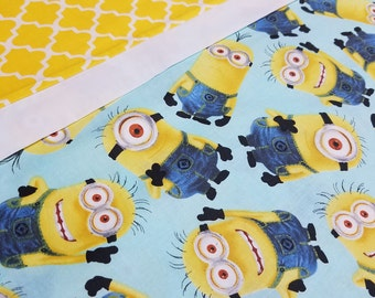 Cute and fun Minions pillowcase.  Standard size. Cotton.  3 coordinating fabrics.