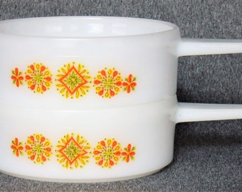 2 Matching Stacking Ovenware Milk Glass Personal Casserole Dishes French Onion Soup Bowls With Yellow & Orange Floral Design GREAT CONDITION