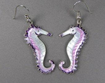 Seahorse Enamel Earrings, Chinese Enamel, Double Sided, Pierced, Boho, Feminine, Dangle Earrings, Vintage Jewelry