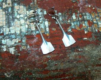 David Andersen Norway Sterling Silver Thor's Hammer Modernist Drop Earrings - Dangle Minimalist Paddle Oar