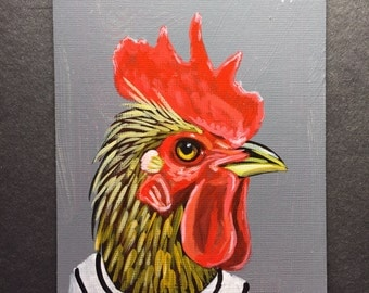 Rooster portrait on a playing cards. 2017