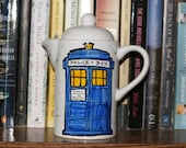 "Doctor Who ""Good Cup of Tea"" Single Serve White Tea Pot - TARDIS - Tenth Doctor Quote - Hand Painted"