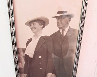 Vintage Framed Photo of Man and Woman - Retro Sepia