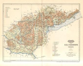 1897 Original Antique Dated Map of Zala County, Austro-Hungarian Empire