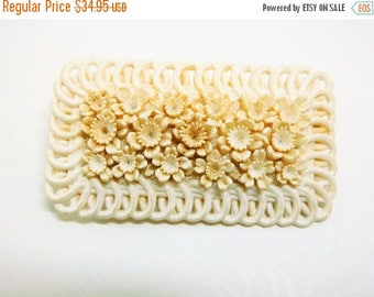 CLEARANCE SALE White Celluloid Brooch Vintage Wedding Cake White carved Victorian Floral