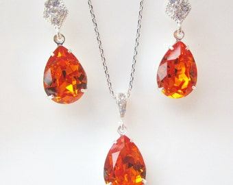 Bridesmaid Jewelry Set, Tangerine Bridesmaid Jewelry, Swarovski Crystal Earrings, Swarovski Crystal Necklace, Orange Necklace, Tangerine