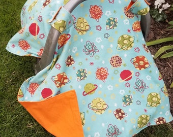Gift Set - Baby Car Seat Cover Planets - Outer space
