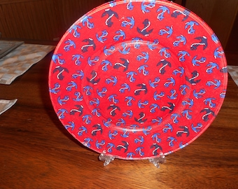 10 inch fabric backed plate, beach, nautical, anchor, anchor fabric, red, beach decor, nautical decor display, collector