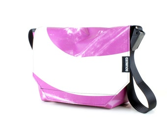 Messenger Bag made from Upcycled Truck Tarp, Water resistant Laptop Bag, Courier Bag, Satchel, Shoulder Bag (R06)