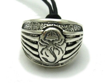 Sterling silver biker pendant solid 925 scorpion ring