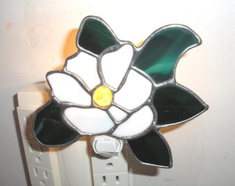 LT Stained glass, Magnolia flower, night light, lamp, made with white opal glass for the flower green streaked glass my hand made in the USA