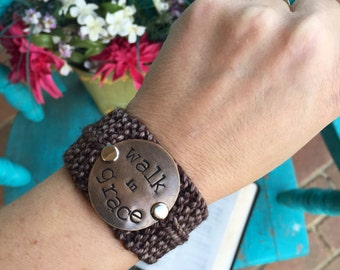Walk in Grace Christian Bracelet, Hand Stamped Brown Cuff Bracelet, Faith Jewelry, Bridesmaid Gift, Graduation Gift