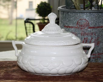 Vintage White Ironstone Fancy Covered Tureen with Ladle 3 Pieces California Pottery Style