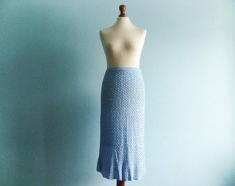 Vintage Crochet Skirt / Blue / Pencil Tube Wiggle Skirt / Midi / small medium