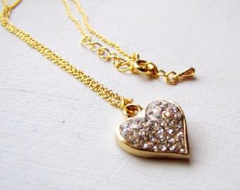 Rhinestone Necklace Heart Necklace Rhinestone Gold Heart Necklace Gold Necklace Short Layering Necklace Romantic Jewelry Valentine's Day