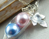 pre christmas sale Two Peas in a Pod for a Special Girl and Boy in Silver with Vine and Leaf Swarovski Pearls Brides, Bridesmaids, Friends,