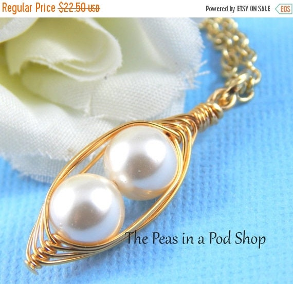 Mothers Day Sale 2 Peas in a Pod Gold Pendant Necklace Cream or choose your color  Brides, Bridesmaids, Friends, Best Friends, Sisters Or Mo